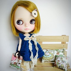 Kawaii Afternoon (Chasing Miss Rainbow) Tags: blue bag square knitting doll dress handmade handknit pillow fabric kawaii blythe accessories collectible decor tunic dollbag pollymakes