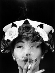 Hat and Five Roses (Vogue), Paris, 1956 (Grandiloquences) Tags: williamklein klein americanfashionphotographers americanphotographers americanartists americanart americanphotography fashionphotography fashionphotographers fashionphotographs vogue silkroses roses fashionmodels models hats smokers smoking cigarettes cigarettesmoke 20thcentury 1950s 1950sfashion chic fashionable fashionmagazines fingernails stylish highstyle earrings aintshegrand barbaramullen mullen frenchchic