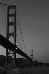 Dark Towers (JB by the Sea) Tags: sanfrancisco california november2016 fortpoint presidio goldengate goldengatebridge bridge blackandwhite bw