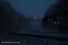 18 Days On The Main Line: Day 6 (Wanderer Photography) Tags: norfolksouthern ns rail railroad railway train track signals prr pennsylvania commonwealth cambria lilly county light shadow snow blizzard signal position lights weather night twilight dusk intermodal engine locomotive diesel emd ge