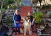 Dad, me and Thor in the garden. (Angela Curado) Tags: angelacurado manelcurado thor father felicidad garden winter perro sanbernardo dog girl saintbernard