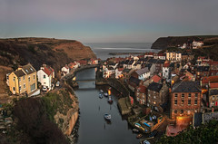 Staithes (Glenn D Reay) Tags: staithes northyorkshire sea village panoramic elevated boats cottages seaside cold bluehour pentaxart pentax k30 sigma1770hsm glennreay