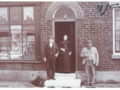 190 & 188 Manchester Road West (Landstrider1691) Tags: manchesterroadwest littlehulton grocers shop grocersshop hodgkissgrocers windowdisplay historic history localhistory johnsonhodgkiss erihodgkiss gracehodgkiss dog muzzle terrace terraced house peekfreanbiscuits biscuits biscuittins jars tins flatcap waistcoat jacket doorstep potplant frontdoor sundaybest shopwindow advert 1800s 1880s 1890s 19thcentury victorian thomssoap flouradvert flour coombseurekapastryflour pastryflour pastry victorianadverts oldphotosofworsley oldphotosoflittlehulton