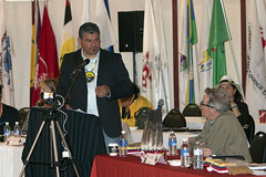 Minister David Zimmer at the 2015 AOCC to congratulate Regional Chief Day's election. Theme 'Strengthening our Relationships,' hosted by Anishinabe of Wauzhushk Onigum First Nation (Rat Portage) Treaty #3 Territory. (Ministry of Indigenous Affairs) Tags: ontario government anishinabe governmentofontario ratportage davidzimmer aboriginalaffairs ministryofaboriginalaffairs isadoreday allontariochiefsconference anishinageofwauzhushkonigumfirstnation