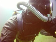 Vintage 13 (Vintage Scuba) Tags: ocean lake man men wet water vintage belt tank mask smooth dry scuba diving rubber double hose suit diver beavertail weight drysuit fins wetsuit rebreather regulator