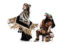 Raven and Wolf Lady (GBP Creative) Tags: portrait yellow studio dancers mask north yukon firstnations northern carvings tlingit regalia