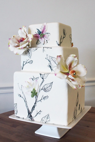 Hand Painted Branches and Bugs Wedding Cake with Sugar Magnolias