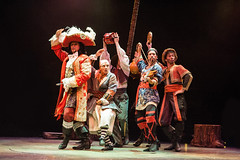 (L to R) Paul Schoeffler as Captain Hook, Michael Nostrand as Smee and Adam Lendermon, Garett Hawe and Steve Geary as the Pirates in Peter Pan, produced by Music Circus at the Wells Fargo Pavilion July 21-26, 2015. Photo by Kevin Graft.