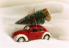 Bringing home the Christmas tree. (Through Serena's Lens) Tags: winter snowing cold car beetle volkswagen bug stilllife vw red tree green