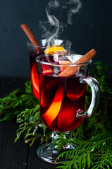Mulled wine with spices (lyule4ik) Tags: wine mulled holiday hot christmas spice background tree branch pine wooden warm decoration table slice red punch festive orange fir cinnamon made roll green craft sweet decorated seasonal magic bright glass grog badiana xmas shape tray fruit spiced cup stars baked beautiful alcohol ornaments sticks drink vintage food beverage decor