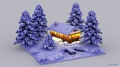 Emotions: Winter (bigboy99899) Tags: lego winter scene diorama pine tree lake forest wooden house render digital ldd light snow