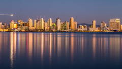 San Diego Reflections (John Getchel Photography) Tags: california harborisland sandiego cityscape goldenhour reflections skyline
