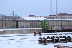 Winter freights (Thomas_Chrome) Tags: graffiti streetart street art spray can freight freights train trains vr transpoint cargo illegal vandalism moving target suomi finland europe nordic winter