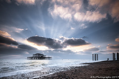 New Brighton-2 (RJ Photographic (600,000 views Thank You)) Tags: brightonseascape jetty waves bandstand clouds murmuration pier water west outdoors sunset leefilters 0906 groyne nightshots birds