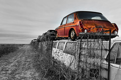 Shattered Dreams (cylynex) Tags: classic classiccar oldcar junkyard austinamerica selectivecolor car auto automobile vehicle redcar rusty decaying rustycar colorado nikon d800 santocommarato