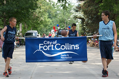 4th of July Parade 2015 (City of Fort Collins, CO) Tags: street city blue friends red music white basketball kids america fun community fort trolley flag crowd families parks july parade bands marching recreation fourth collins floats