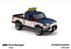 Ford Ranger X Cab Pickup (1996 - FNA Custom Offroad) (lego911) Tags: auto usa ford car america truck team model ranger lego stuck offroad render 1996 4wd utility pickup ute custom challenge 92 1990s 90s cad lugnuts v6 povray moc ldd p150 miniland foitsop lego911 stuckinthe90s