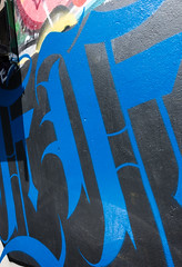Black and blue (S's images) Tags: street blue abstract black art wall graffiti brighton painted north calligraphy script laines