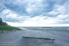 Slate Grey Sky (Linnea Nordström) Tags: park trip blue sky usa lake storm beach weather clouds dark grey sand waves state wind pennsylvania ominous sandy july windy stormy pace erie slate isle presque