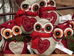 A bunch of Christmas owls (annkelliott) Tags: alberta canada seofcalgary thesaskatoonfarm giftshop owls decorations felt sewn christmas christmasowls forsale indoor fall autumn 11november2016 fz200 fz2004 annkelliott anneelliott ©anneelliott2016 ©allrightsreserved