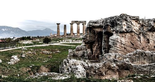 Ancient Corinth. Temple of Apollo.