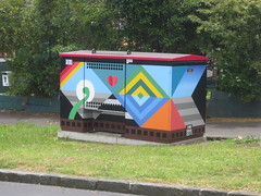 22000 Volts transformer (RODALCO2008) Tags: transformer newzealand colourful 22kv distribution power 22000volts utility art