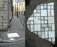 by Ememem [Lyon, France] (biphop) Tags: europe france lyon croixrousse streetart pavement trottoir carrelage rebouches trous ememem rebouche