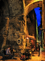 """""""Dinner in Diocletian's Palace"""" - Split, Croatia (TravelsWithDan) Tags: diocletianspalace split croatia night restaurant oldtown colors ruins architecture canon5d city urban candid"""