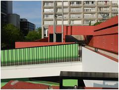 Passages, Paris Tolbiac. (michelle@c) Tags: urban suburban city passages durchgang ways abstraction wall concrete distribution housing district green redochre tolbiac paris 2017 explore michellecourteau
