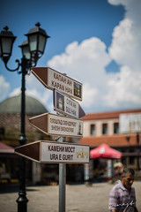 Choosing paths (aka_ernest) Tags: signs clouds canon day different sunny 5d daytime paths bazaar skopje mark3