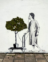 Piece by Dr Love, Upfest 2015 (tim constable) Tags: streetart art ecology mobile bristol graffiti dangerous stencil rainforest mural pavement trolley political satire breath environmental patient medical problem oxygen pollution metaphor sick problems solution ecological drlove asthma difficulty lifeline infirm pollute respiratory greenhouseeffect 2015 lifesupport hospitalised oxygenmask greenhousegases upfest timconstable