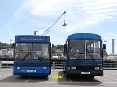 Tantivy 206 & 65 (Coco the Jerzee Busman) Tags: uk blue bus islands coach camo renault cannon jersey swift dennis tours dart channel leyland lcb plaxton tantivy