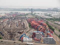 Oak Island Freight Rail Yard, Newark, New Jersey (jag9889) Tags: auto city railroad bridge usa car river airplane landscape puente newjersey parkinglot automobile crossing unitedstates outdoor essexcounty aircraft parking unitedstatesofamerica nj bridges aerialview terminal storage ponte container transportation airline infrastructure pont vehicle interstate newark railroadbridge brücke bayonne waterway gardenstate ua unitedairlines movable railroadtracks conrail hudsoncounty 2015 newarkbay interstate78 newarkbaybridge cityofnewark njturnpikeextension thebrickcity jag9889 k072 k071 thegatewaycity 20150708