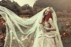 'English summer rain seems to last for ages. (Laura Jane Harding) Tags: roses summer beautiful beauty gardens movement emotion princess pale redhead corset crown conceptual magical