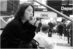 Stair camping (mesonparticle) Tags: bw london girl asian fujifilm londonwaterloo x100t topgunning
