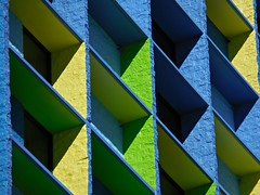 Linq 2 (kenjet) Tags: vegas blue color green geometric colors yellow tile square hotel colorful rooms pattern lasvegas squares balcony room side casino nv lv linq linqhotel