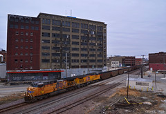 """Eastbound Coal Train in Kansas City, MO (""""Righteous"""" Grant G.) Tags: up union pacific railroad railway locomotive ge power east eastbound coal load loaded loads kansas city missouri west bottoms"""