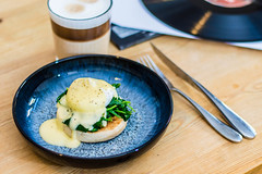 eggs florentine (swolstenholme1977) Tags: bakingprojecteggsflorentine eggs breakfast florentine homemade vinyl record coffee latte spinach