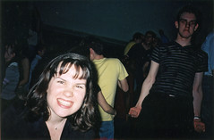 Hampstead bar party (Gary Kinsman) Tags: hampsteadstudentcampus hampstead childshill nw3 kidderporeavenue london film kingscollegelondon kcl hallsofresidence studentcampus students university fun youth young 2002 student bar hampsteadstudentbar bottle drink flash party pose posed drunk smashed