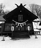 Yubari Shrine, Grayscale (sjrankin) Tags: 9january2017 panorama edited yubari hokkaido japan shrine yubarishrine snow clouds grayscale oshogatsu newyears