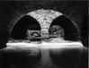 The Nose Knows ([jonrev]) Tags: polaroid 195 land camera instant film peel apart fujifilm fp3000b black white waukegan illinois river ravine bridge tunnel stone water ice winter