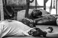 Resting in the ring after training (sophie_merlo) Tags: boxing bw mono monochrome sport sports cubanboxers havana lahabana cuba cuban street candid people gym