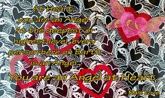 You are an Angel at Heart (Rain Love AMR) Tags: timetofly fabric art heart wings angel love black white red gold text graphics spiritual message heart~to~heart