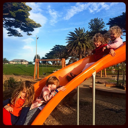 165/365 • I told them to take me for a walk and they brought me to the windiest bloody park in existence. I can't feel my toes but they're having a blast • #165_2015 #babysitting #parklife #zoe #elijah #daisy #olivia #7yo #4yo #friends #gangoffour #mornin