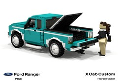 Ford Ranger X Cab Pickup (1996 - FNA Horse Hauler) (lego911) Tags: auto two usa moon ford car america truck team model ranger lego stuck offroad render 1996 4wd utility pickup hose ute chrome trailer custom rider equestrian challenge 92 1990s 90s cad lugnuts v6 povray moc ldd p150 miniland lego911 stuckinthe90s