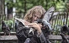 NYC100219/.....LOVE................ (a PSYCHIATRIST'S view) Tags: new york nyc people man love birds locals affection manhattan pigeons glenn homeless parks photojournalism compassion larry birdman homelessness streetphotographer glennlosack losack birdamn