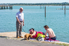 Old Man...Little Dog... Big Woman...Pale Bloke. (The Image Den) Tags: people sunshine raw candid streetphotography aww southampton pooch enjoyment toydog walkies 50mmf18 southamptonwater mayflowerpark lr57