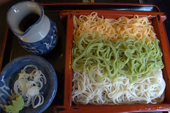Colored soba noodles