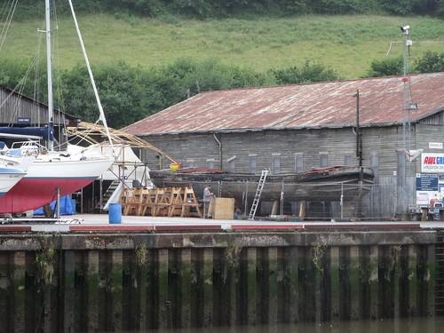 Barge under repair