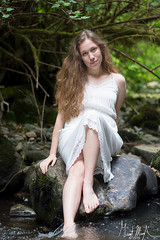 DSC_0802 (www.grantmisseghers.photography) Tags: summer woman white green water girl beauty female creek river hair stream dress feminine naturallight valley innocence barefeet wade nikkor50mmf18 wading nikond7100 grantmisseghers
